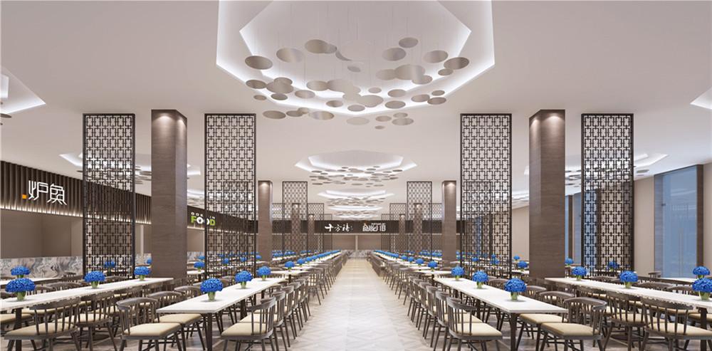 ,餐厅整体分为两大区域,每个区域矗立6-8根立式方柱,配以金属制作的仿古窗框,营造出一种明确的层次感和立体美。灰色木制座椅、白色的餐桌、蓝色(浅蓝色)的盆景有机地结合,沉稳而不失活泼。最具特色的是餐厅的灯饰,就餐区天花板上,悬挂着一盏盏倒立的六边形荷花池塘般的面板灯,寓意着享受生活,陶冶情操。  食堂每天都有大量学生前来就餐,上饶食堂装修设计案例简约大方的设计在有限面积内能够容纳更多学生,不过与此同时食堂做好服务也是必须的。 今天的案例赏析就到此结束了,下次再给各位更多分享,谢谢。